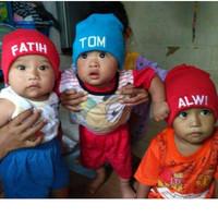 Bordir topi kupluk anak atau dewasa request bordir topi cetak nama