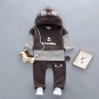 Baju setelan Anak Import | set 3in1 Baju Celana Rompi dan Celana Lucuk - 1 tahun, Abu-abu