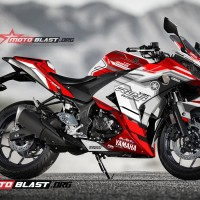 Decal Stiker R25 WHITE RACING TECHNO RED