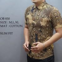 Jual  Baju kemeja Batik Pria Cowok Fashion lengan panjang pendek slim fit  Murah