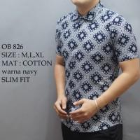 Jual Baju kemeja Pria Cowok Fashion Batik lengan panjang pendek slim fit Murah