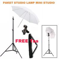 PAKET HEMAT mini studio lighting Lightstand Lamp holder e27 + payung