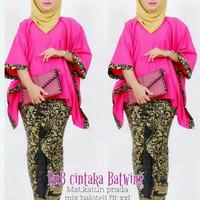 setelan baju batik set wanita muslimah baju batik kondangan berhijab