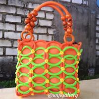 tas wanita rajut handmade rajutan dari tali kur dan gelas plastik