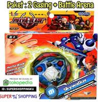 Mainan Gasing Paket 2 Mecha Blade + Bonus Arena