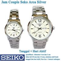 jam tangan Seko Arca Stainless Tanggal Hari Couple silver