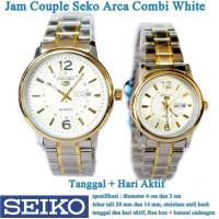 jam tangan Seko Arca Stainless Tanggal Hari Couple combi white