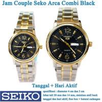 jam tangan Seko Arca Stainless Tanggal Hari Couple combi black