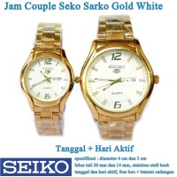jam tangan Seko Sarko Stainless Tanggal Hari Couple gold white