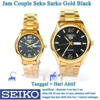 jam tangan Seko Sarko Stainless Tanggal Hari Couple gold black