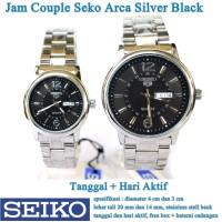 jam tangan Seko Arca Stainless Tanggal Hari Couple silver black