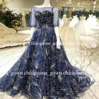 gaun pengantin muslim wedding gown blue baju pengantin brokat mewah