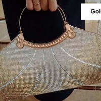 Tas Pesta Import Dompet Pesta Kristal Biru Merah Maroon Gold 28805