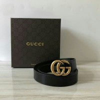 b85ba07fd BELT GUCCI BLACK LEATHER WITH GG GOLD BUCKLE MIRROR QUALITY