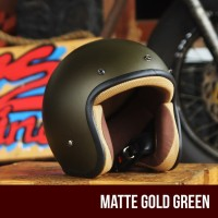 Helm Retro Classic grey gold army bukan Jpn bmc kyt ink cakil
