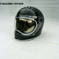 GREATEST PRO helm custom BELL space talgon hitam glossy list chrome d