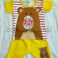 Cute Baby Set Bear Kuning | Baju Bayi | Baju Anak Murah Keren Lucu
