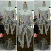 Baju batik wanita Set Kebaya Akad Nikah (Pengantin) Muslim Putih