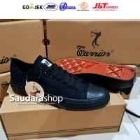 Sepatu Warrior Sparta All Black Low / Sepatu Warior Hitam Pendek