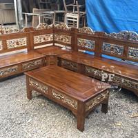 Meja Kursi Kayu Jati, 1 Set Kursi Sudut Bagong Trawang GRATIS ONGKIR