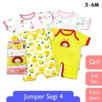 LIBBY 4 Pcs Romper Premium / Kodok Segiempat Bayi/Baby Girl (3-6M)