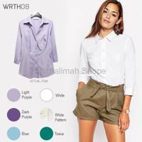DISKON WRTH08 3 4 Sleeve Shirts Kemeja Wanita Atasan Baju Kerja