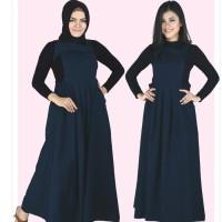 Baju Muslim Koko Pakistan Gamis Dress Casual Wanita Pria Anak Navy