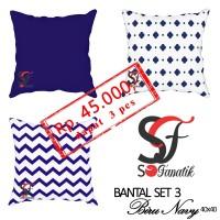 3 Sarung Bantal Sofa kursi motif Set Biru Navy 4  minimalis murah cush