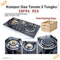 KOMPOR 3 TUNGKU INFRARED TEMPERED GLASS PRIMA COOK + FREE PACKING KAYU