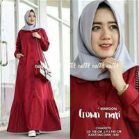 Baju Terusan Muslim Crown Maxi Hijab Koko Wanita Untuk Hari Raya Apple