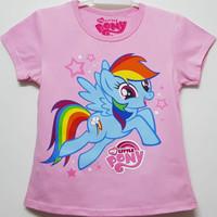 Baju kaos karakter anak perempuan little pony 7-10