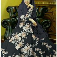Syari Evania Navy Gamis Syar'i Terbaru Kekinian Baju Muslim Seragam