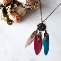 Jual [READY] N025 - Kalung Etsy Dreamcatcher Bohemian Feather Murah