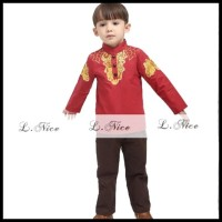 BIG SALE BAJU KOKO ANAK: L NICE 85-02 KOKO GOLDEN RED (1-6 TAHUN !!!