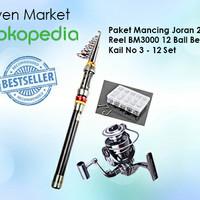 Paket Pancingan Joran 2.4M. Reel BM3000 12 Ball Bearing. Kail 1 Set