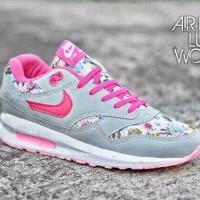 TERLARIS sepatu nike air max women floral grey pink