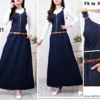 Overall jeans jumbo gamis maxi dress XXL with inner jumpsuit hijab w