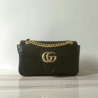3b446ba61 TAS GUCCI GG MARMONT MINI MATELASSE BAG BLACK MIRROR QUALITY
