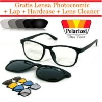 Frame kacamata lensa otomatis fotogrey Clip On 2201 (frame+lensa)