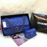 Tas Wanita Branded Chanel Maxi Anak Set Pouch Black Nickel Warna Biru