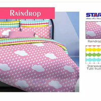 Sprei murah merk star / bintang kecil motif raindrop 1 uk 180 x 200