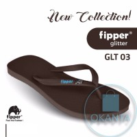 Sandal Fipper Glitter - Brown(Havana) Turquoise [GLT 03] - ORIGINAL