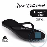 Sandal Fipper Glitter - Black Black White [GLT 01] - ORIGINAL