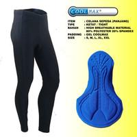 Celana Panjang Sepeda Ketat Import Padding Gel Coolmax Hitam Polos Cyc