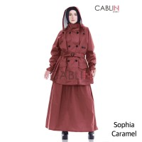 Jas Hujan Muslimah Raincoat Wanita Caramel Cablin Project Model Rok