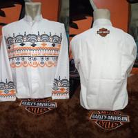 Baju Koko Harley Davidson Batik Abs Long White