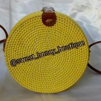 Jual Tas Rotan Bulat Bali Kekinian Warna Kuning Bali Rattan Bag Yellow Murah