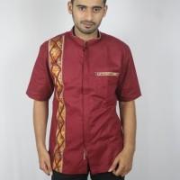 Jual Baju koko batik baru, busana muslim pria kualitas premium TN 66 merah Murah