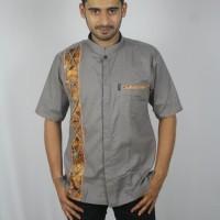 Jual Baju koko batik baru, busana muslim pria kualitas premium TN 66 abu Murah