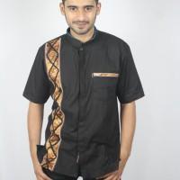 Jual Baju koko batik baru, busana muslim pria kualitas premium TN 66 Hitam Murah